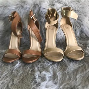 Women's Brown Open Toe Ankle Strap Heels